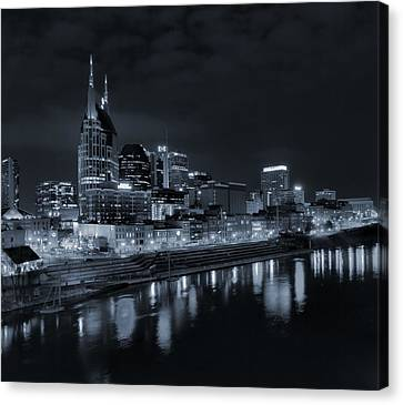 Nashville Skyline Canvas Print - Nashville Skyline At Night by Dan Sproul