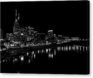 Nashville Skyline At Night In Black And White Canvas Print by Dan Sproul