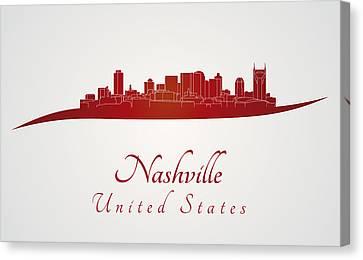 Nashville Skyline In Red Canvas Print by Pablo Romero