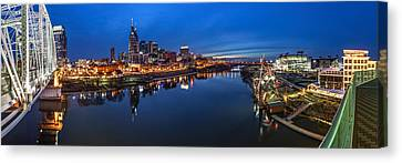 Nashville Skyline Panorama At Night Canvas Print by Brett Engle