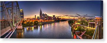 Yellow Building Canvas Print - Nashville Skyline Panorama by Brett Engle
