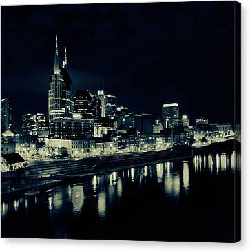 Nashville Skyline Reflected At Night Canvas Print by Dan Sproul