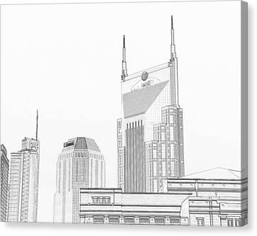Nashville Skyline Sketch Batman Building Canvas Print by Dan Sproul