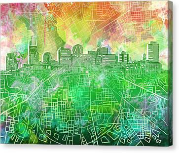 Nashville Skyline Canvas Print - Nashville Skyline Watercolor 2 by Bekim Art