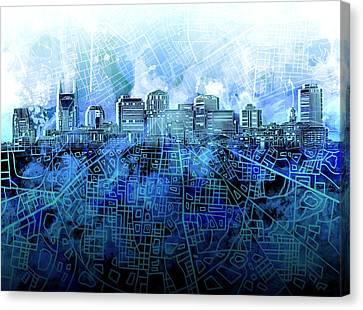 Nashville Skyline Canvas Print - Nashville Skyline Watercolor 3 by Bekim Art