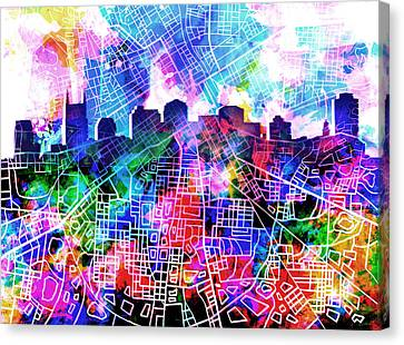 Nashville Skyline Canvas Print - Nashville Skyline Watercolor 5 by Bekim Art