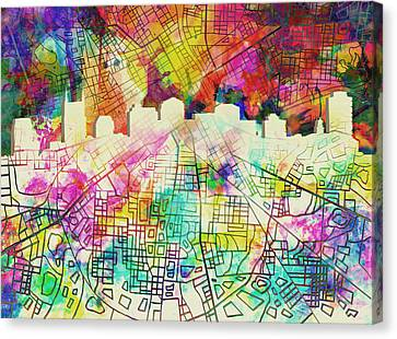 Nashville Skyline Canvas Print - Nashville Skyline Watercolor 7 by Bekim Art
