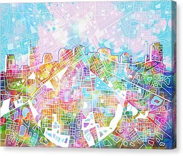 Nashville Skyline Canvas Print - Nashville Skyline Watercolor 8 by Bekim Art