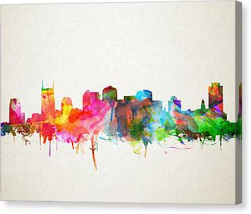 Nashville Skyline Canvas Print - Nashville Skyline Watercolor 9 by Bekim Art