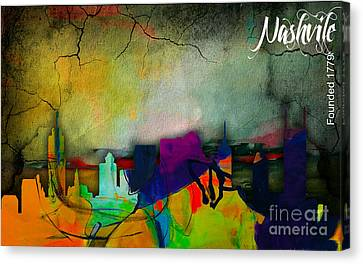 Nashville Skyline Watercolor Canvas Print by Marvin Blaine