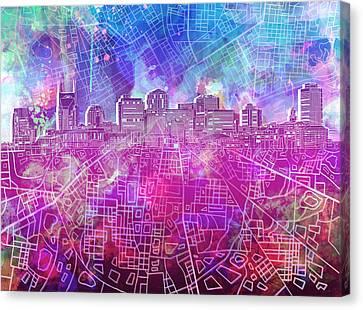 Nashville Skyline Canvas Print - Nashville Skyline Watercolor by Bekim Art