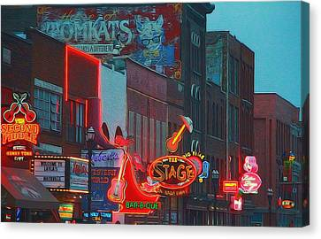 Nashville Strip Lit Up Canvas Print