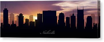 Nashville Skyline Canvas Print - Nashville Sunset by Aged Pixel