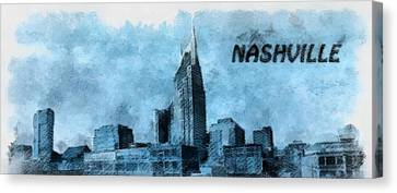 Nashville Tennessee In Blue Canvas Print