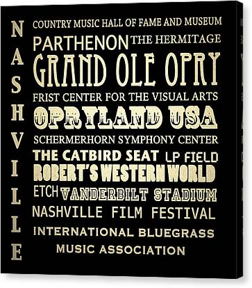 Nashville Tennessee Famous Landmarks Canvas Print by Patricia Lintner