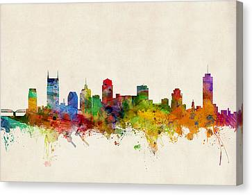 Silhouettes Canvas Print - Nashville Tennessee Skyline by Michael Tompsett