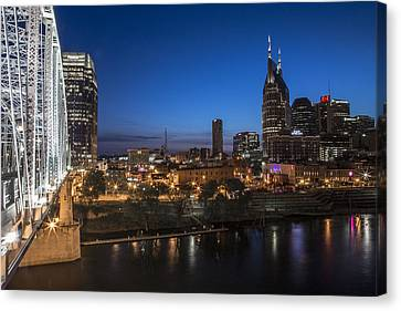 Nashville Tennessee With Pedestrian Bridge  Canvas Print by John McGraw