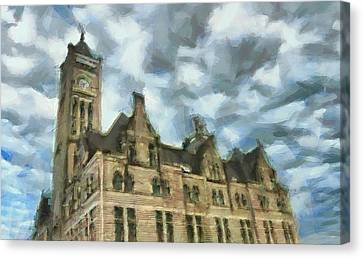 Nashville's Union Station Painted Canvas Print by Dan Sproul