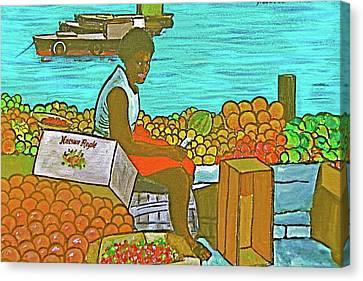 Nassau Fruit Seller Canvas Print by Frank Hunter