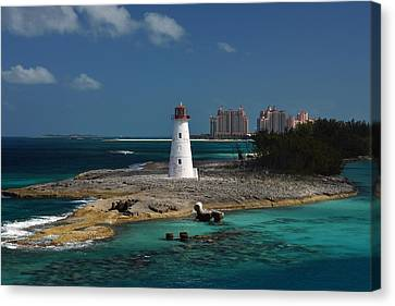 Canvas Print featuring the photograph Nassau Harbour Lighthouse by Bill Swartwout