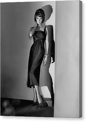Natalie Fell Cushing Wearing A Dress Canvas Print by Horst P. Horst