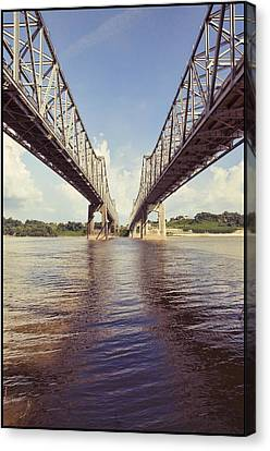 Canvas Print featuring the photograph Natchez Bridges Crossing The Mississippi by Ray Devlin