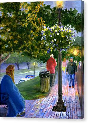 Canvas Print featuring the painting Natchitoches Front Street Cane River by Lenora  De Lude