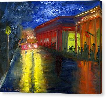 Canvas Print featuring the painting Natchitoches Louisiana Mardi Gras Parade At Night by Lenora  De Lude