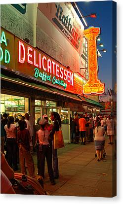 Nathans Coney Island Canvas Print by James Kirkikis