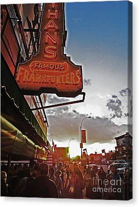Canvas Print featuring the photograph Nathan's Famous Coney Island Sunset Frankfurters by Andy Prendy