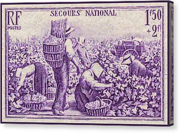 Grape Pickers Canvas Print - National Emergency Stamp 1 by Lanjee Chee