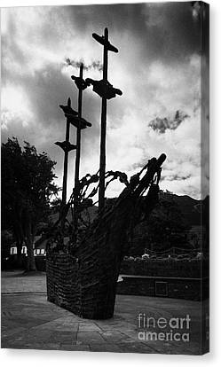 National Famine Memorial The Skeleton Ship By John Behan Beneath Croagh Patrick Mayo Ireland Canvas Print by Joe Fox