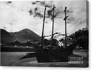 National Famine Memorial The Skeleton Ship By John Behan Beneath Croagh Patrick Mayo Canvas Print by Joe Fox