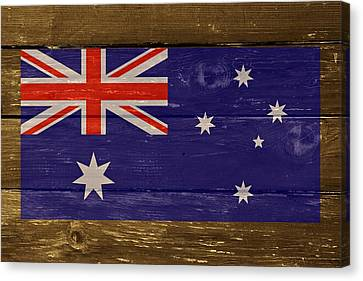 Australia National Flag On Wood Canvas Print by Movie Poster Prints