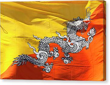National Flag Of Bhutan Canvas Print by Peter Adams