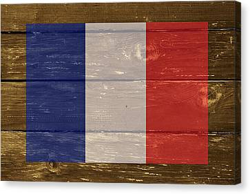 France National Flag On Wood Canvas Print