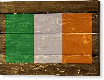Ireland National Flag On Wood Canvas Print by Movie Poster Prints