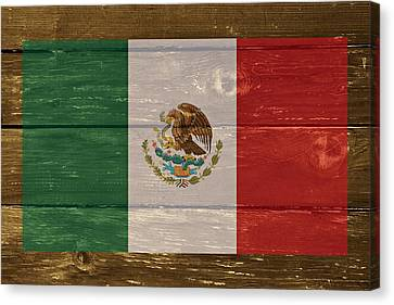Mexico National Flag On Wood Canvas Print by Movie Poster Prints