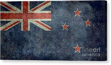 National Flag Of New Zealand Retro Vintage Version To Scale Canvas Print by Bruce Stanfield