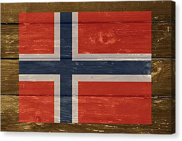 Norway National Flag On Wood Canvas Print by Movie Poster Prints