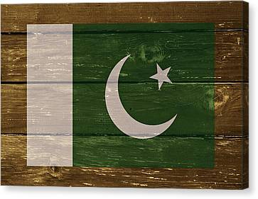 Pakistan National Flag On Wood Canvas Print by Movie Poster Prints