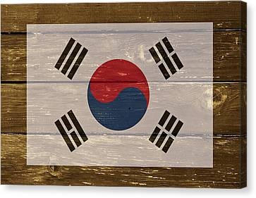 South Korea National Flag On Wood Canvas Print by Movie Poster Prints