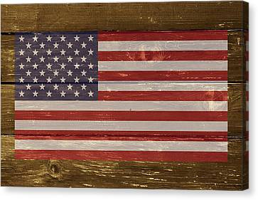 United States Of America National Flag On Wood Canvas Print by Movie Poster Prints