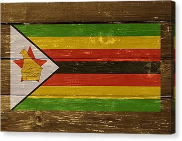 Zimbabwe National Flag On Wood Canvas Print