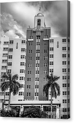 National Hotel - South Beach - Miami - Florida - Black And White Canvas Print by Ian Monk