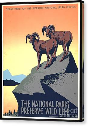 National Parks Poster 1939 Canvas Print by Padre Art