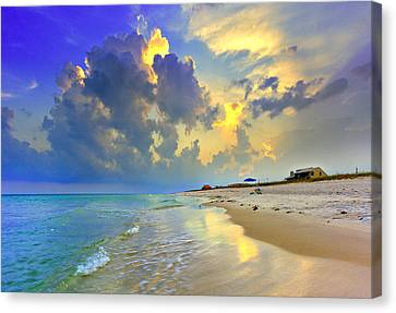 Canvas Print featuring the photograph National Seashore Navarre Pensacola Beach Florida Blue Sunset Art Prints by Eszra