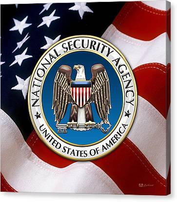 National Security Agency - N S A Emblem Emblem Over American Flag Canvas Print by Serge Averbukh