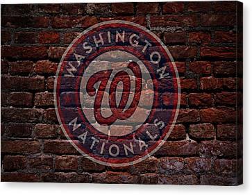 Centerfield Canvas Print - Nationals Baseball Graffiti On Brick  by Movie Poster Prints