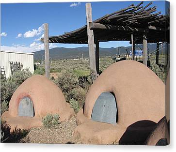 Canvas Print featuring the photograph Native American Adobe Ovens In New Mexico by Dora Sofia Caputo Photographic Art and Design
